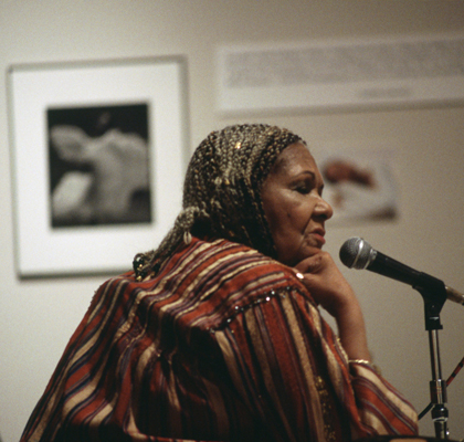 Katherine Dunham reflects during her lecture at MOCRA, 1993.