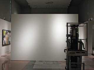 A new wall inhabits in MOCRA's nave gallery. The lift at right is not an installation piece.