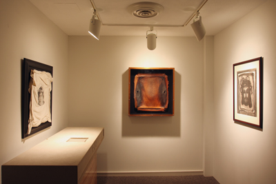 "from left: Luis González Palma, ""El Santo Sudario"" (1989); Daniel Goldstein, ""Icarian XI/Leg Extension"" (1993); Georges Rouault, ""By His Stripes We Are Healed,"" from the series ""Miserere et Guerre"" (1922)"