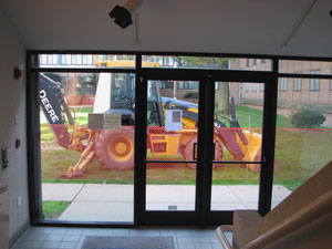 Backhoe at MOCRA's door.