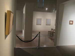 Looking out into MOCRA's nave gallery from the south side aisle.