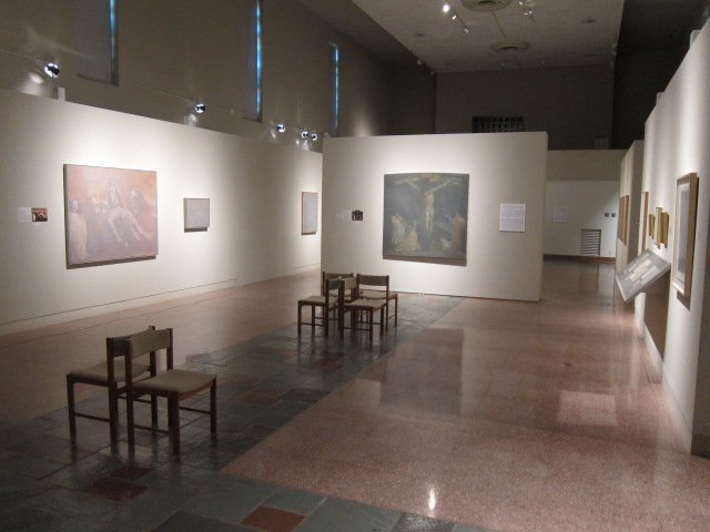 The paintings of James Rosen in MOCRA's nave gallery.