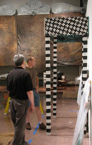 Installing work by Adrian Kellard at MOCRA