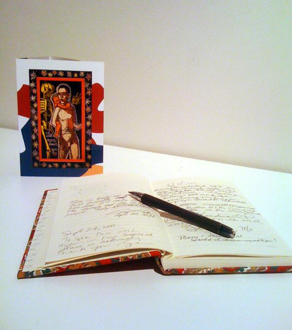 Guest book for Adrian Kellard exhibition.