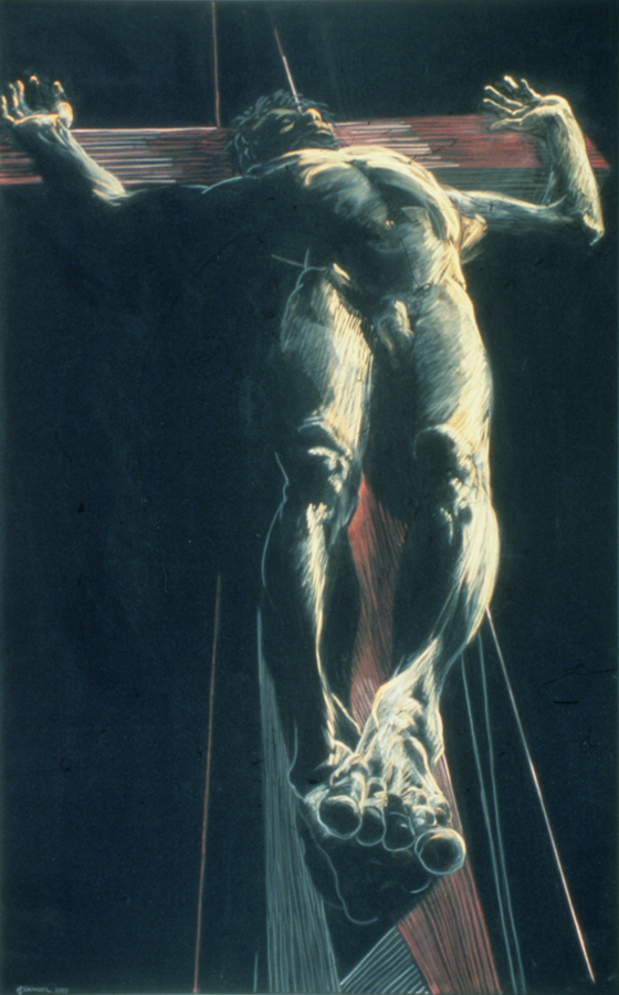 Eleanor Dickinson, Crucifixion of Dountes, 1988. Pastel on black velvet. MOCRA collection, a gift of Dr. Mark W. Dickinson, Katherine V. G. Dickinson, and Peter S. Dickinson.