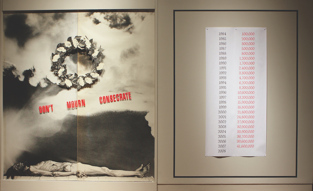 Juan González, Don't Mourn, Consecrate, 1987. Photo-collage with mixed media. MOCRA collection. Installation at MOCRA, 2009. Photo by Jeffrey Vaughn.