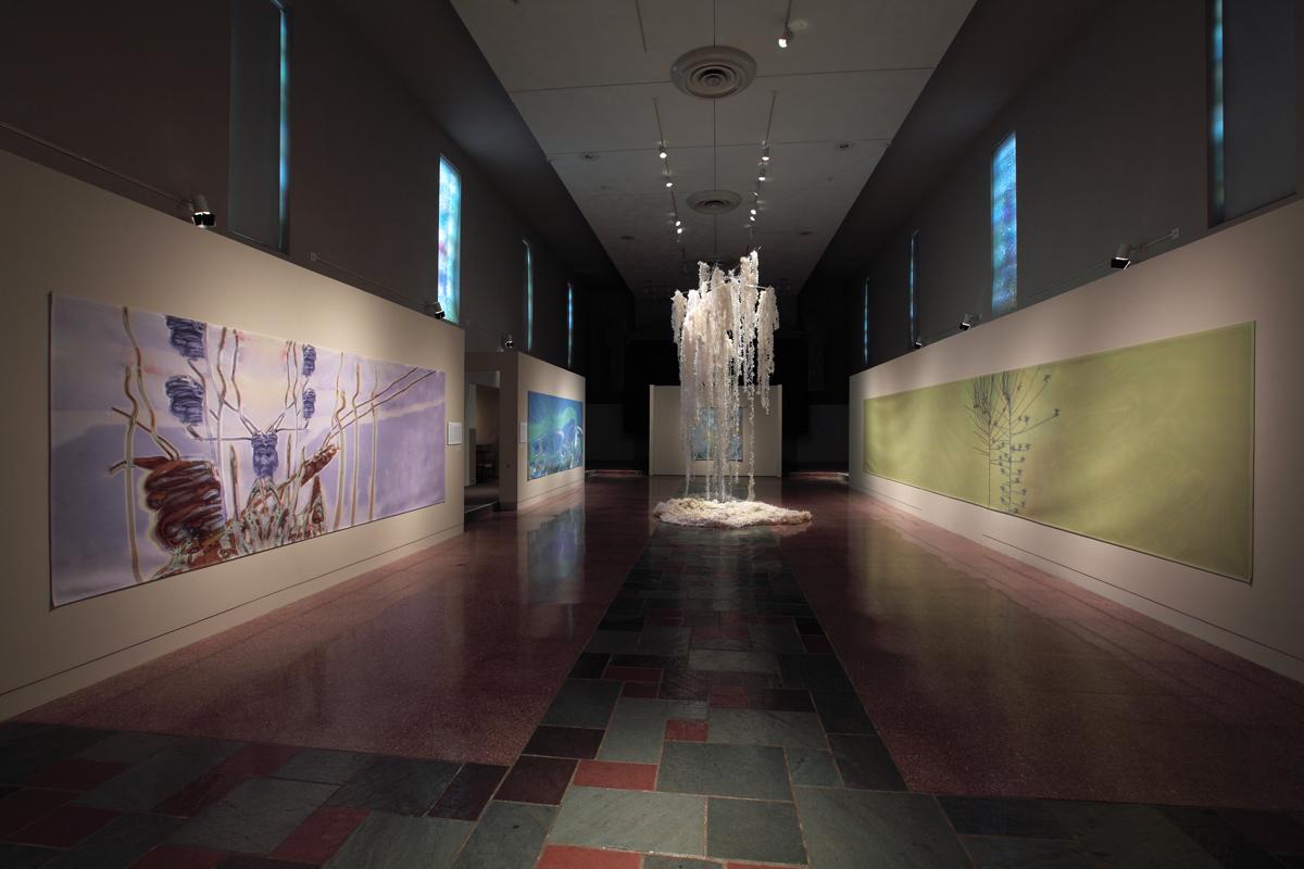 """Installation view, """"Rebecca Niederlander: Axis Mundi"""" at MOCRA (2014). Photo by Jeffrey Vaughn."""